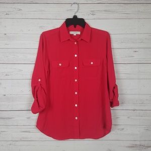 Loft Red button up Small shirt roll tab sleeves